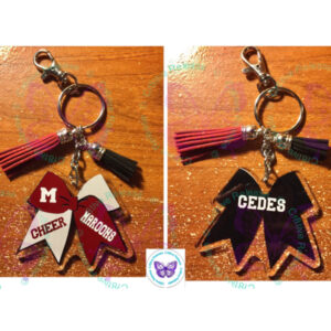 MOLINE MAROONS CHEER BOW KEYCHAIN BY CR8TIVE RELEASE GIFTS
