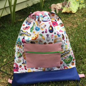 Shopkins Drawstring Backpack with Front Pocket Accent Handmade by MGEDesigns
