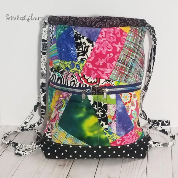 quilted patchwork drawstring bag