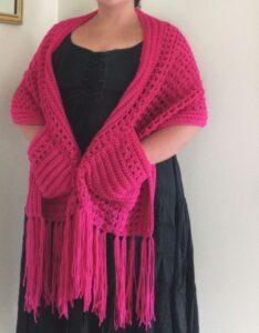 Pocket Scarf/Shawl with fringe – Hot Pink