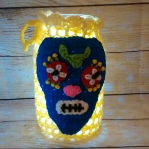 Yellow-Blue Skull Jar Cozy