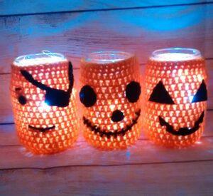 Jack-O-Lantern Mason Jar Cover