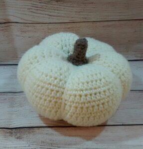 Crochet Cream Pumpkin Decoration