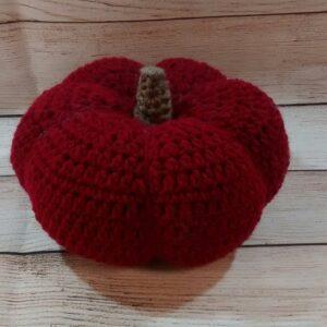 Crochet Burgundy Pumpkin Decoration.