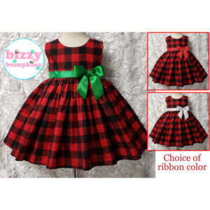 Red and Black Buffalo Plaid Sleeveless Dress Holiday Christmas Dress for Baby, Infant, Toddler Girls Choice of Ribbon color accent