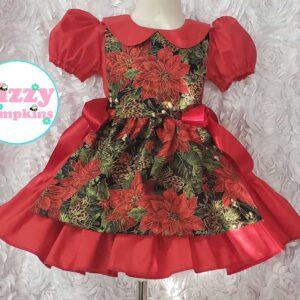 Poinsettia Pinafore Christmas Dress