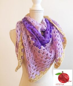 Purple and gold crocheted triangle scarf