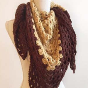 Crochet Granny Triangle Scarf in Chocolate and Gold