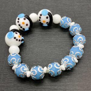 Blue Earmuff Snowmen Stretch Bracelet
