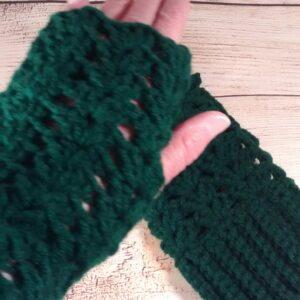 Womens Green Fingerless Gloves