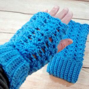 Womens Blue Fingerless Gloves