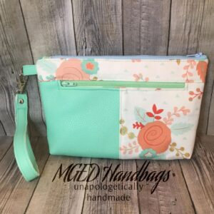 Mint Flower Zippy Wristlet Bag Handmade by MGED Handmade Bags