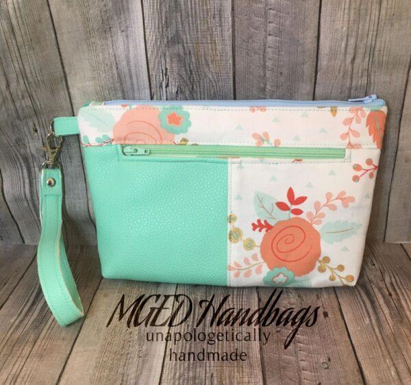 Mint Flower Zippy Wristlet Bag Handmade by MGED Handmade Bags