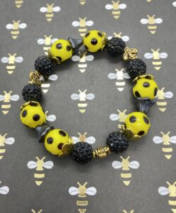 Yellow & Black Polka Dot Stretch Bracelet with Bee Beads