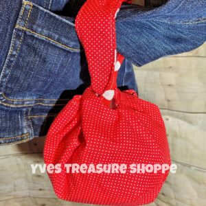 Red and White Mini Knot Tote Bag