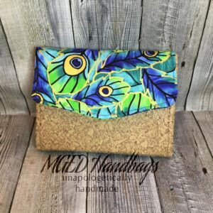 Peacock NCWallet Mini Made with Cork Mothers Day Sale Handmade by MGED Handbags