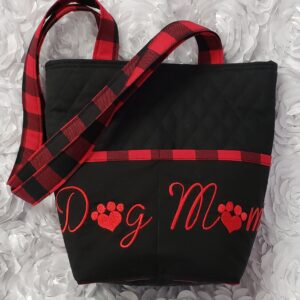 Red Buffalo Plaid Dog Mom Embroidered Quilted Tote Handbag by Doxie Days