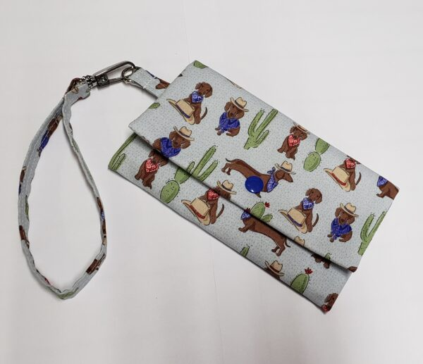 Cowboy Dachshunds Print Cell Phone Wallet by Doxie Days