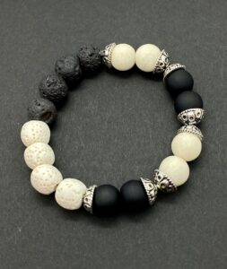 White and Black Lava Stone Stretch Bracelet