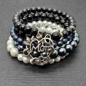 "Pearl Wrap Bracelet with ""Mom"" Charm"
