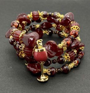 Red Wine-Colored Wrap Bracelet with Wine Glass Charm Wrap Bracelet