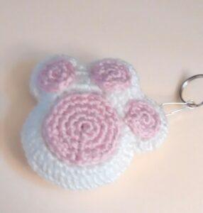 Paw Key Chain White-Pink