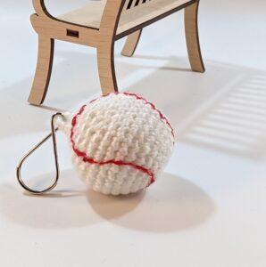 Baseball Crochet Key Ring