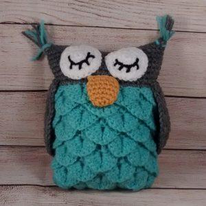 Plush Teal-Grey Owl Pillow