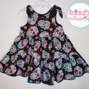 Sugar Skulls Tie Shoulder Twirly Dress