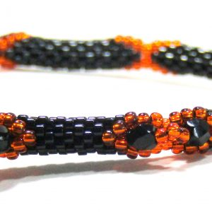 Orange Black Beaded Bangle by Noveenna