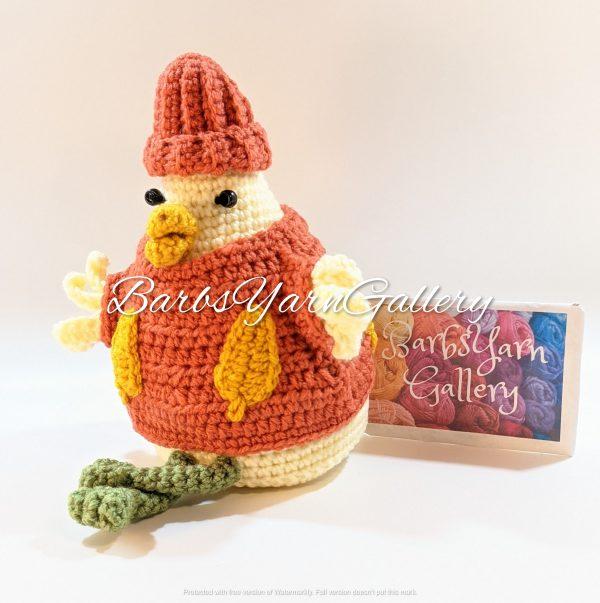Fall Crochet Chicken Decoration