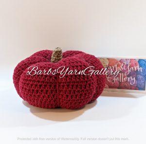 Crochet Burgundy Pumpkin Decoration