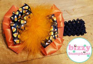 Candy Corn Fluffy Marabou Big Bow Headband