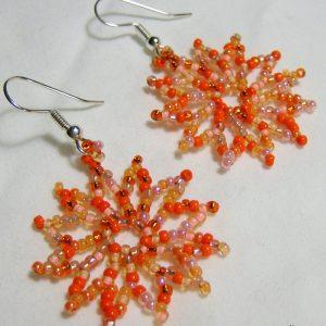 Orange Sorbet Beaded Earrings by Noveenna