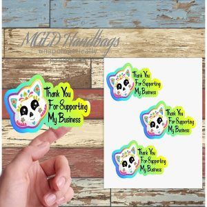 Cat Sugar Skull Thank You Stickers, Sheet of 19, Shipping Included, Handmade by MGEDHandbags
