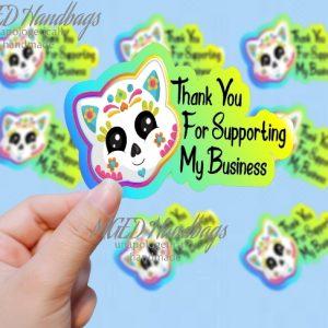 Cat Sugar Skull Business Sticker, Print Your Own, Digital Download, PNG SVG JPG, Handmade by MGEDHandbags