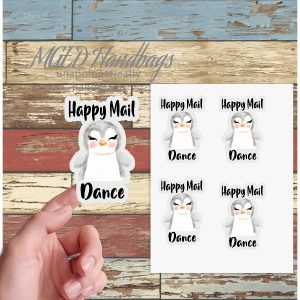 Happy Mail Dance Packaging Stickers, Sheet of 19, Handmade by MGEDHandbags