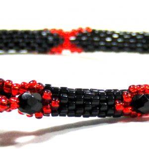 Flame Red Black Beaded Bangle by Noveenna